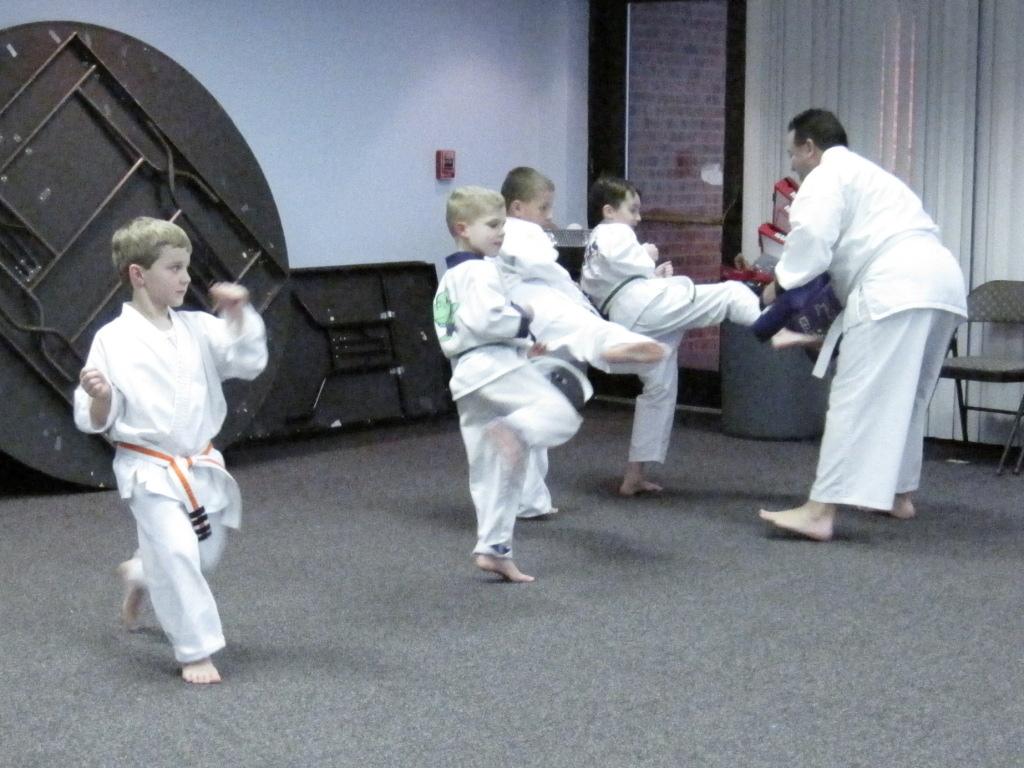 Practicing a kick